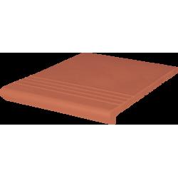 Клинкерные ступени (01) Ступень ВЕНЕЦИАНСКАЯ гладкая/рифленная Красная 330x245x16